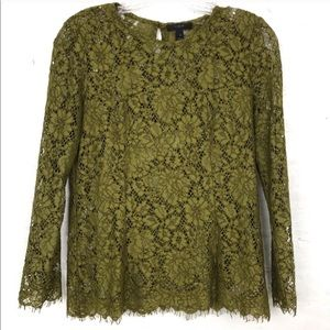 J. Crew Green Lace Stretch Top w/ Camisole Size 0